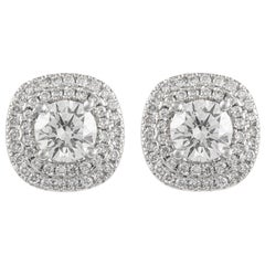 EGL Certified 2.79 Carat Diamond with Halo Stud Earrings 18 Karat White Gold