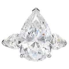 EGL Certified 3,00 Carat Pear Cut Three Stone Diamond Ring