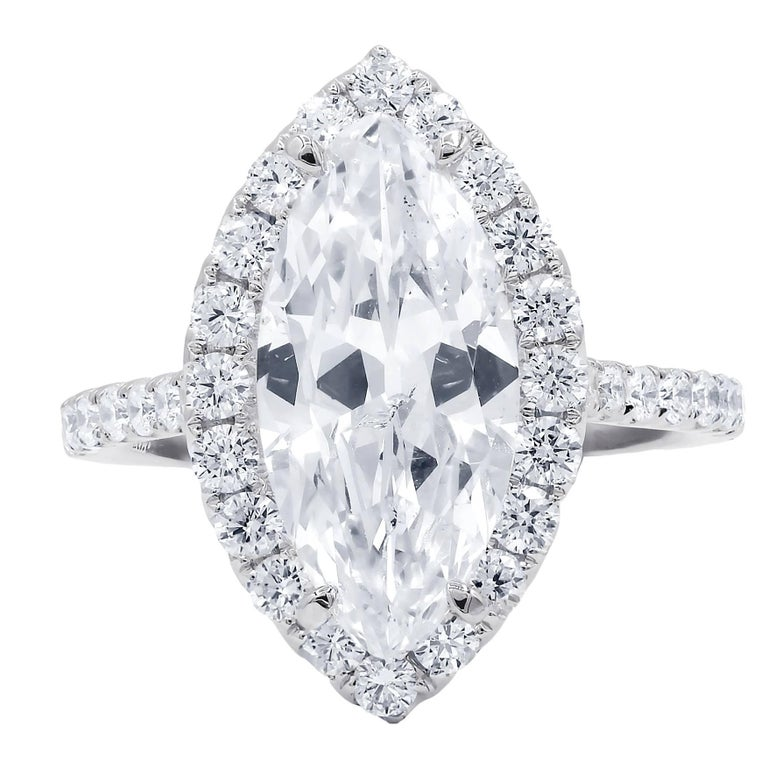 EGL Certified 3.02 Carat H-SI2 Marquise Cut Diamond Ring For Sale