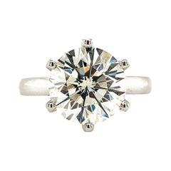 EGL Certified 3.53 Carat Round Brilliant Diamond Ring