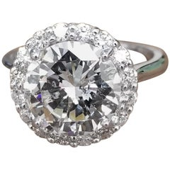 EGL Certified 3.60 Carat Round Diamond in a Halo Setting