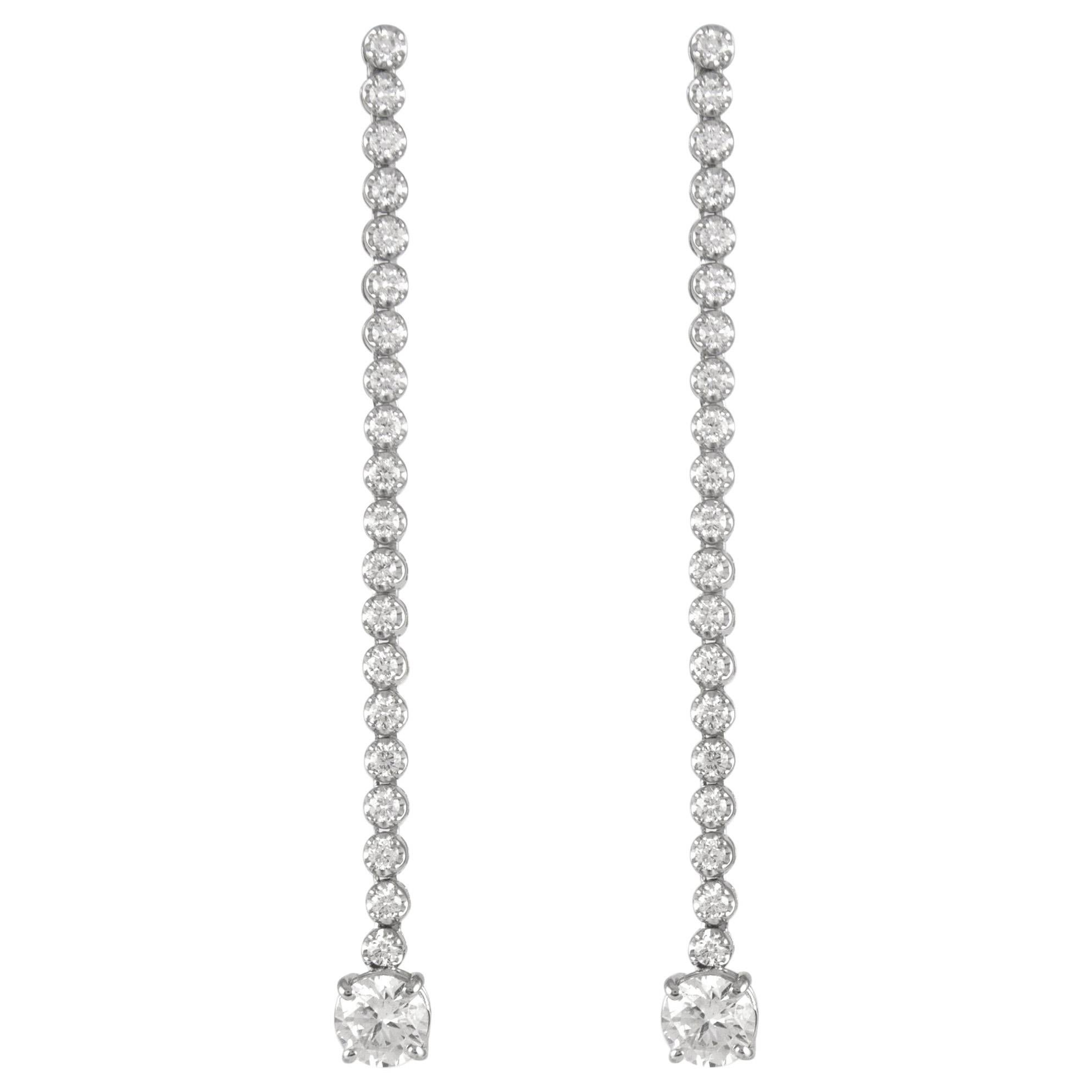 EGL Certified 3.70 Carat Drop Diamond Earrings 18 Karat White Gold