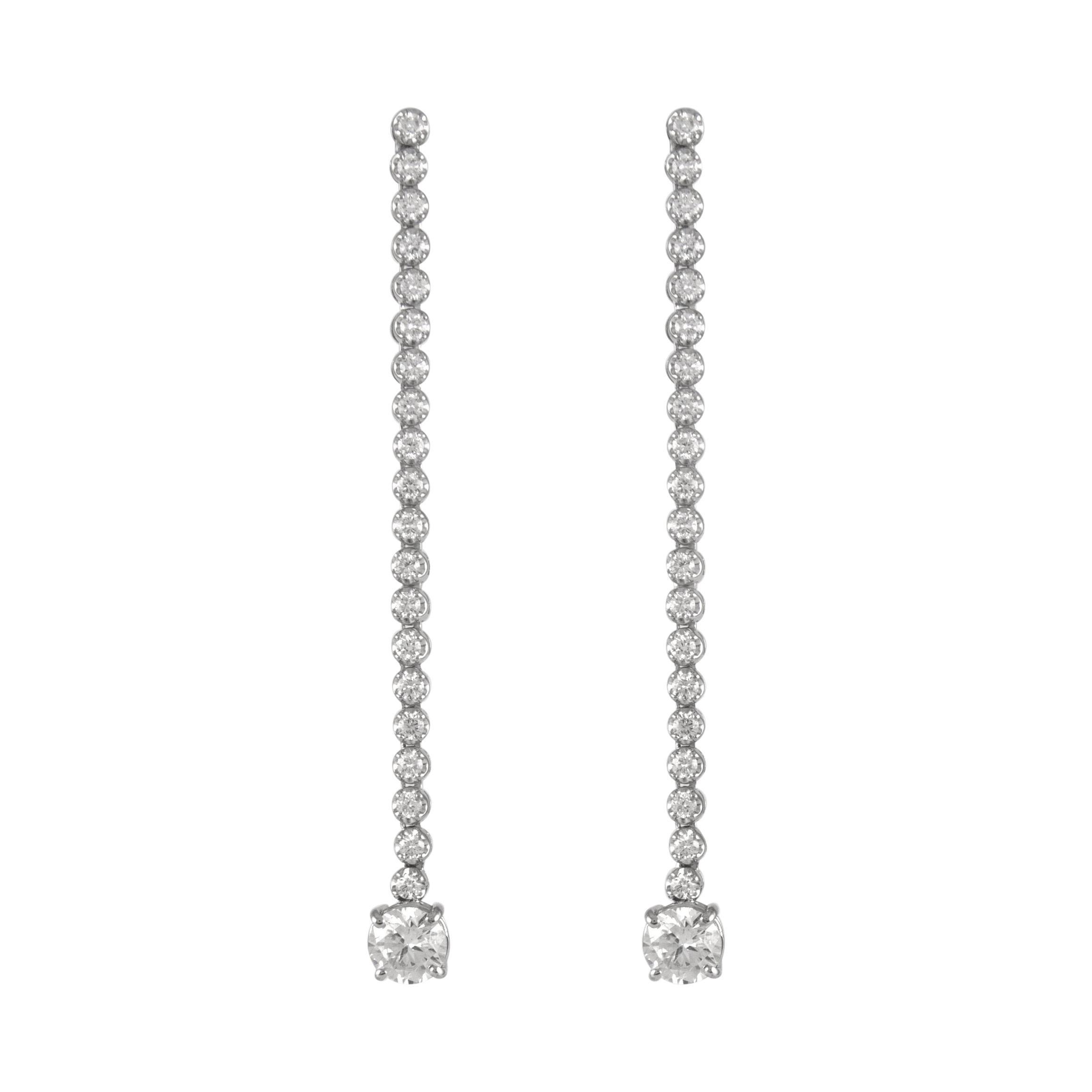EGL Certified 3.70ct Total Diamond Drop Earrings 18k White Gold