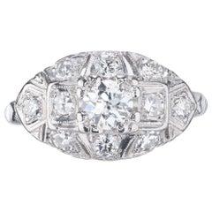 EGL Certified .40 Carat Diamond Old European Cut Platinum Engagement Ring
