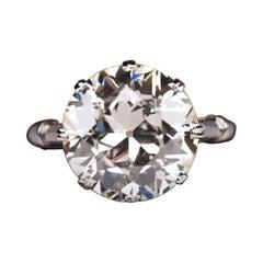 EGL Certified 4.13 Carat Old European Cut Diamond 18 Carats White Gold Ring