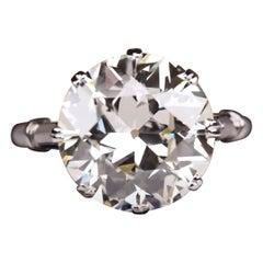 EGL Certified 4.13 Carat Old European Diamond Ring