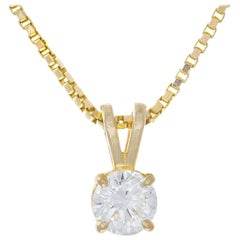EGL Certified .45 Carat Diamond Yellow Gold Pendant Necklace