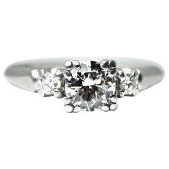 EGL Certified .48 Pts. Diamond 14 Karat White Gold 3-Stone Ring