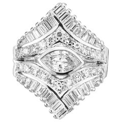 EGL Certified .49 Carat Diamond White Gold Cluster Cocktail Ring