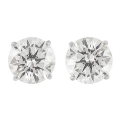 EGL Certified 4.91 Carat Diamond Stud Earrings White Gold