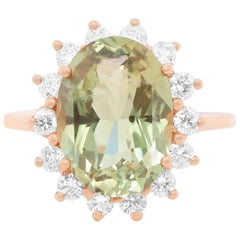 EGL Certified 4.91 Carat Oval Natural Color Change Alexandrite Diamond Halo Ring