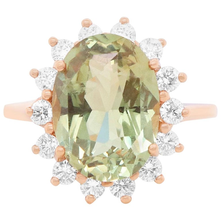 EGL Certified 4.91 Carat Oval Natural Color Change Alexandrite Diamond Halo Ring For Sale