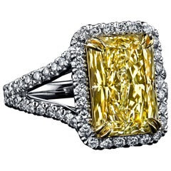 EGL Certified 5.08 Carat Radiant Fancy Light Yellow Diamond Ring