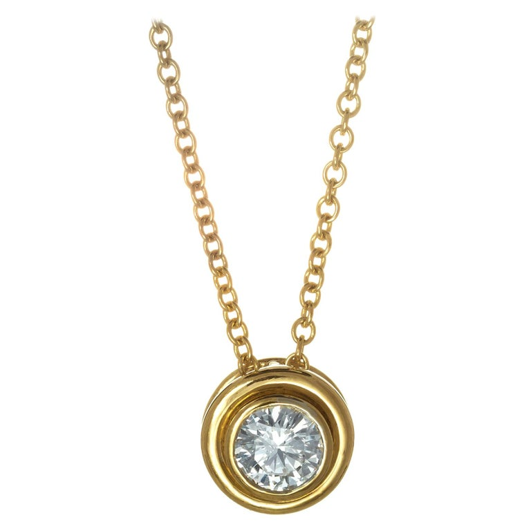 EGL Certified .55 Carat 18 Karat Yellow Gold Slide Pendant Necklace For Sale
