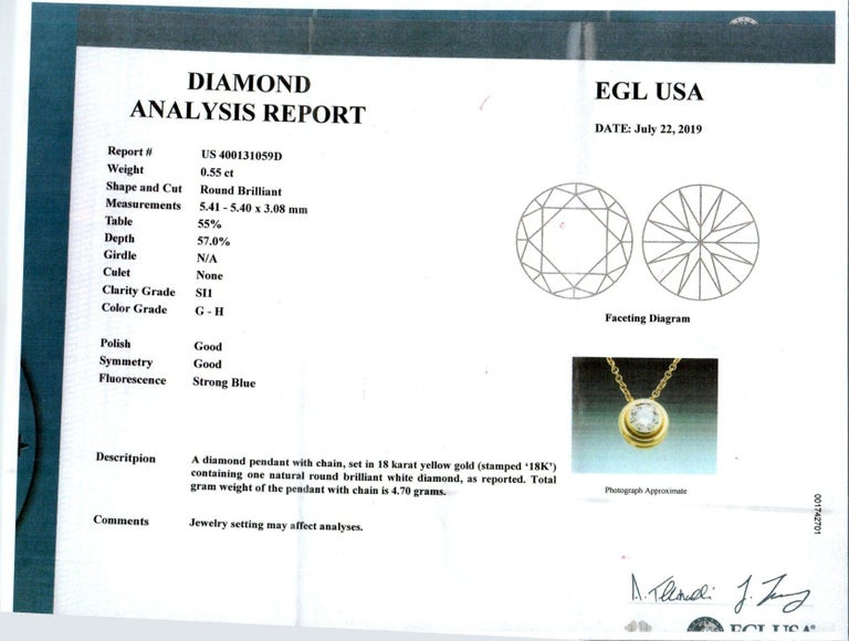 EGL Certified .55 Carat 18 Karat Yellow Gold Slide Pendant Necklace For Sale 2