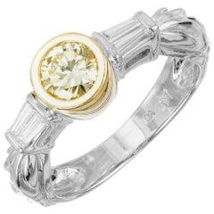 EGL Certified .60 Carat Fancy Yellow Diamond Gold Engagement Ring