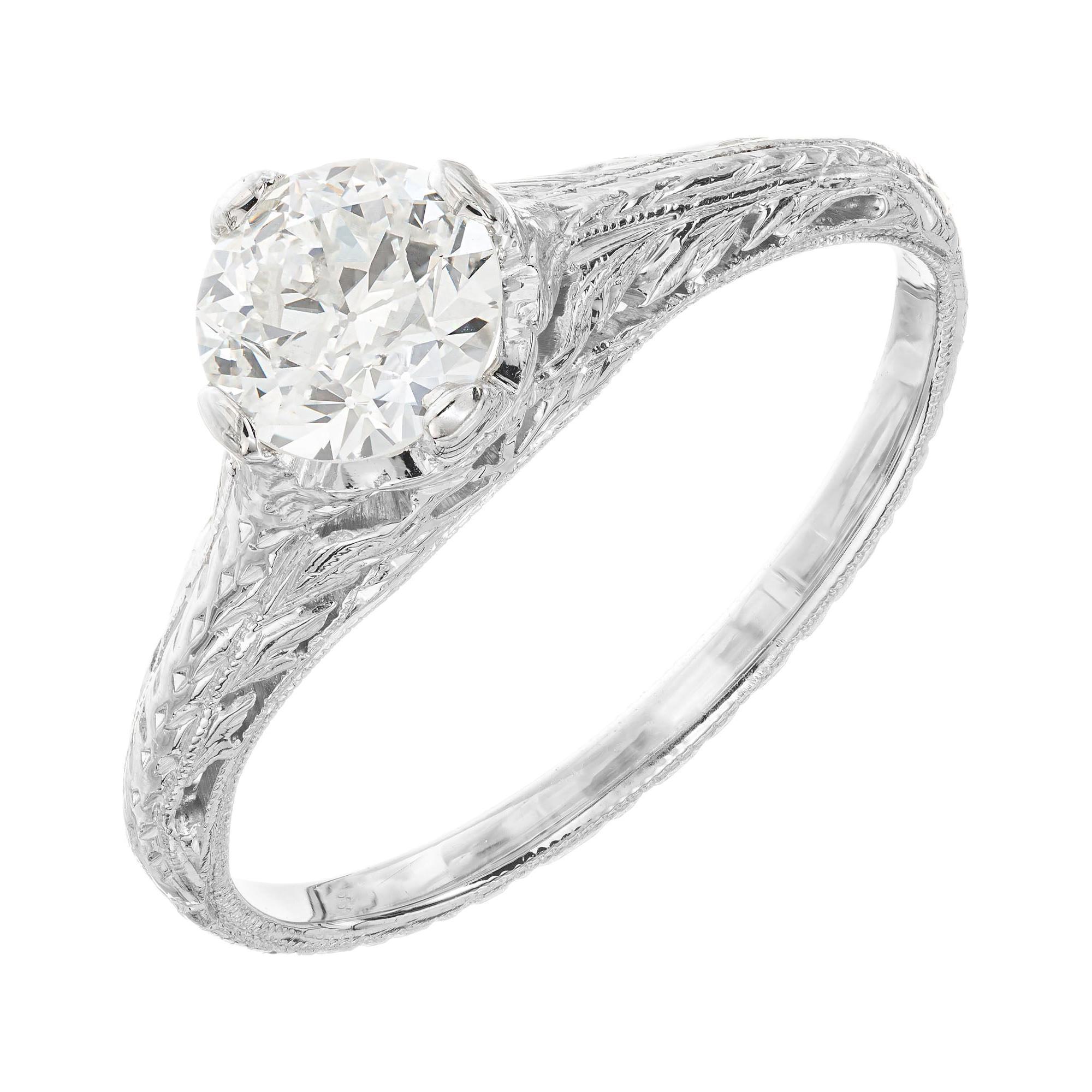 EGL Certified .63 Carat Diamond Platinum Art Deco Engagement Ring