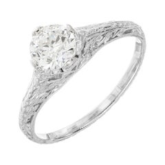 EGL Certified .63 Carat Diamond Platinum Art Deco Engagement Ring