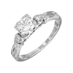 EGL Certified .63 Carat Diamond Platinum Three-Stone Engagement Ring
