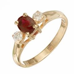 EGL Certified .76 Carat Ruby Diamond Yellow Gold Three-Stone Engagement Ring