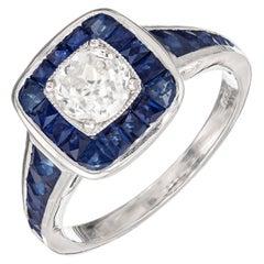 EGL Certified .77 Carat Diamond Sapphire Halo Platinum Engagement Ring