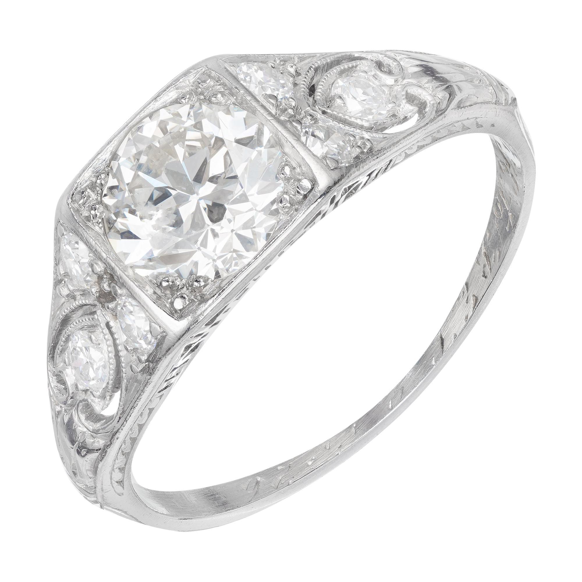 EGL Certified .80 Carat Diamond Platinum Edwardian Art Deco Engagement Ring