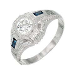 EGL Certified .84 Carat Diamond Sapphire White Gold Men's Ring