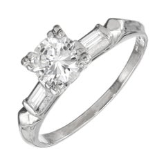 EGL Certified .86 Carat Diamond Three-Stone Art Deco Platinum Engagement Ring
