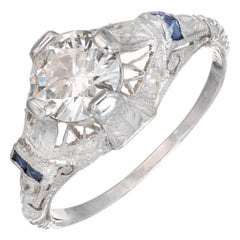 EGL Certified .92 Carat Diamond Sapphire Platinum Engagement Ring