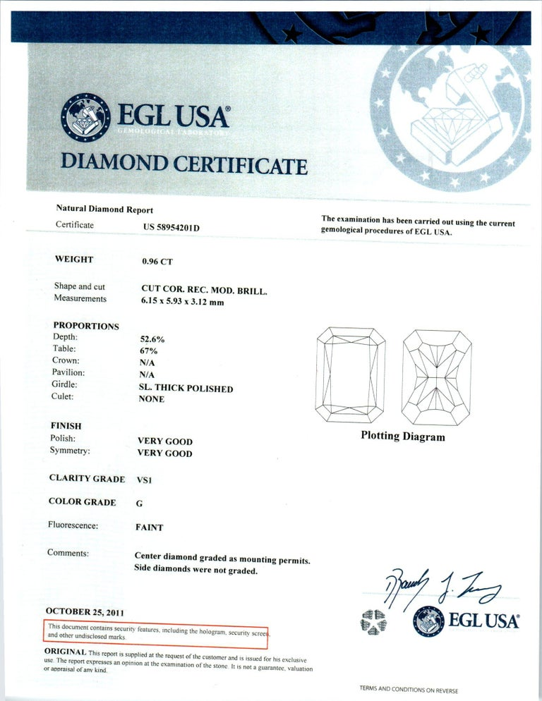 EGL Certified .96 Carat Radiant Cut Diamond Platinum Engagement Ring For Sale 4