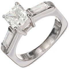 EGL Certified .96 Carat Radiant Cut Diamond Platinum Engagement Ring