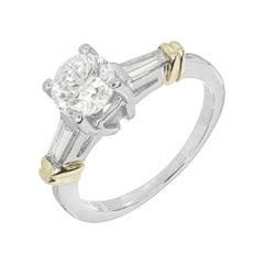 EGL Certified .97 Carat Diamond Platinum Yellow Gold Three-Stone Engagement Ring