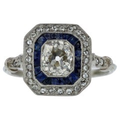EGL Certified Art Deco Diamond and Sapphire Engagement Ring