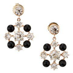 EGL Certified Diamond Onyx Rose Yellow Gold Dangle Earrings