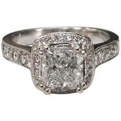 EGL Certified Diamond Princess Cut 1.51D SI2 in Halo Ring