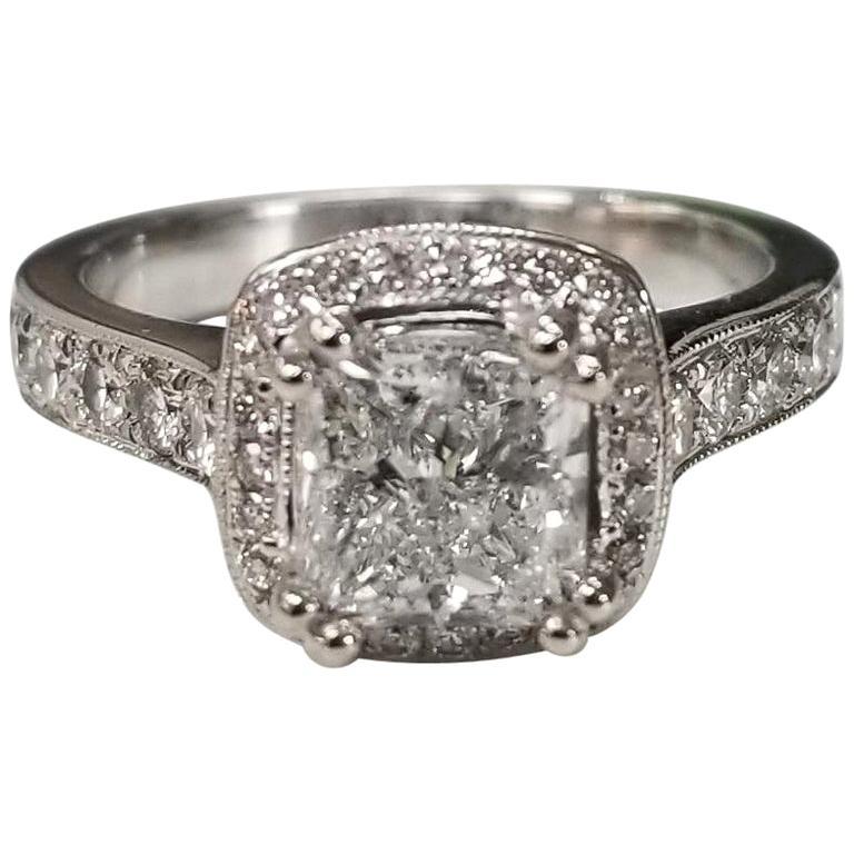 EGL Certified Diamond Princess Cut 1.51D SI2 in Halo Ring
