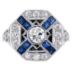 EGL Certified Diamond Sapphire Platinum Ring