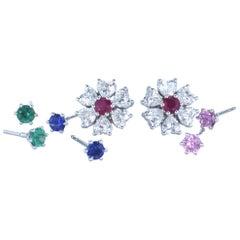 EGL Certified Floral Motif Interchangeable Diamond Earrings Set four inserts
