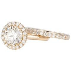 EGL Certified Hearts & Arrows 14 Karat Gold Diamond Halo Engagement Wedding Set