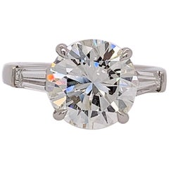 EGL Certified Natural 3.08 Carat H VS2 Round Diamond Platinum Engagement Ring