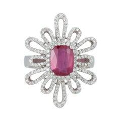 EGL Certified No Heat Ruby Cushion Diamond Art Deco Style Ring 14k White Gold
