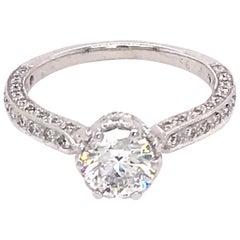 EGL Certified Platinum 1.00 Carat Diamond Engagement Ring