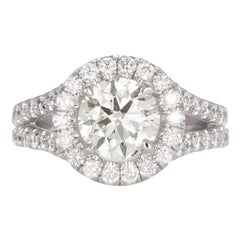 EGL Certified Platinum and Diamond Halo Engagement Ring 2.75 Carat