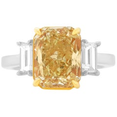 EGL Certified Radiant Modified Brilliant Yellow Diamond Baguette Engagement Ring