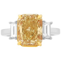 EGL Certified Rectangle Radiant Modified Brilliant Yellow Diamond Ring