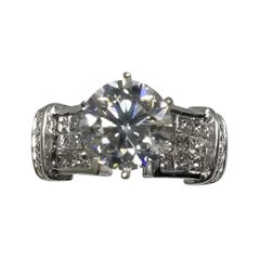 EGL Certified Round Brilliant Cut Diamond 3.01cts, H SI3 18k White Gold Ring