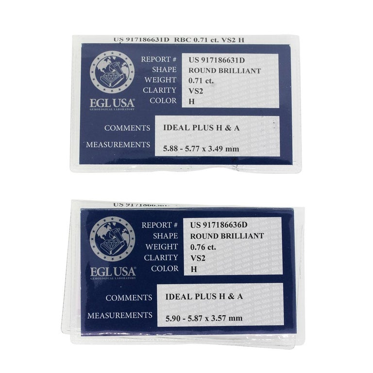 EGL Certified Round Brilliant Diamond Stud Earrings In Excellent Condition For Sale In Boca Raton, FL