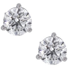 EGL Certified Round Brilliant Diamond Stud Earrings