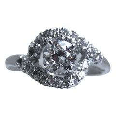 EGL Certified Swirly Vintage 14 Karat White Gold Diamond Ring, 1.10 Carat