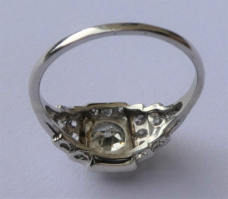 EGL Report Old European Cut 1.04 Carat Diamond Art Deco Platinum Engagement Ring For Sale 1